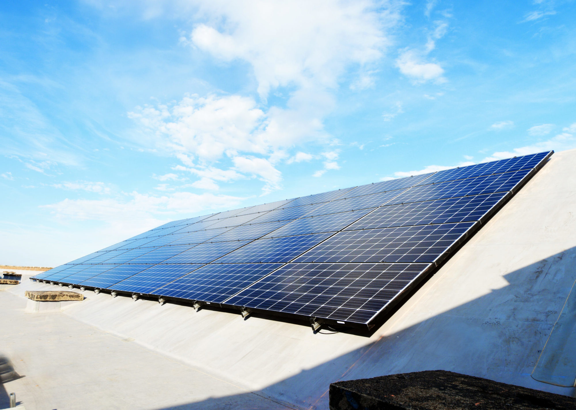Picture of Bluestem's Rail Commercer Roof Solar Panels Project.